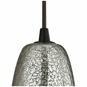 10431/1HME ELK Lighting Hammered Glass 1-Light Mini Pendant in Oiled Bronze with Hammered Mercury Glass