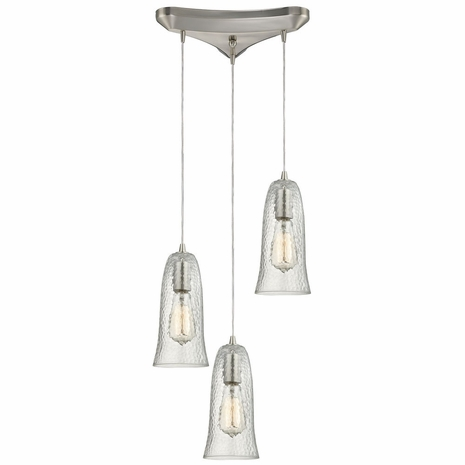 10431/3CLR ELK Lighting Hammered Glass 3-Light Triangular Pendant Fixture in Satin Nickel with Hammered Clear Glass