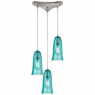 10431/3HAQ ELK Lighting Hammered Glass 3-Light Triangular Pendant Fixture in Satin Nickel with Hammered Aqua Glass