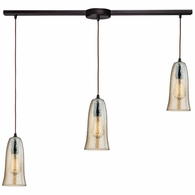 10431/3L-HAMP ELK Lighting Hammered Glass 3-Light Linear Pendant Fixture in Oiled Bronze with Amber-plated Hammered Glass