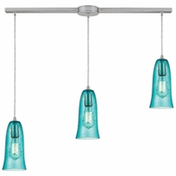 10431/3L-HAQ ELK Lighting Hammered Glass 3-Light Linear Pendant Fixture in Satin Nickel with Hammered Aqua Glass