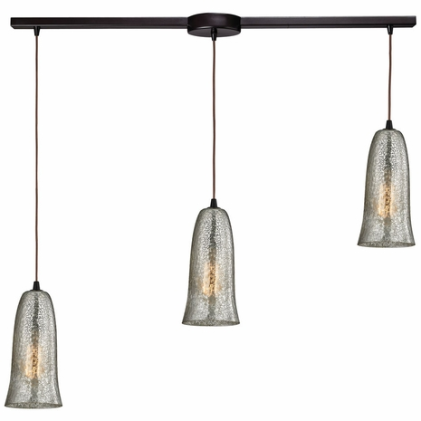 10431/3L-HME ELK Lighting Hammered Glass 3-Light Linear Pendant Fixture in Oiled Bronze with Hammered Mercury Glass