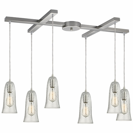 10431/6CLR ELK Lighting Hammered Glass 6-Light H-Bar Pendant Fixture in Satin Nickel with Hammered Clear Glass