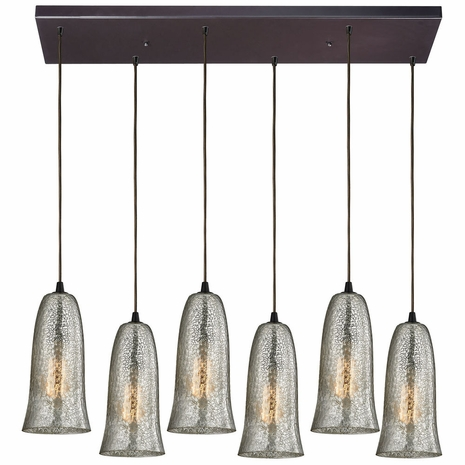 10431/6RC-HME ELK Lighting Hammered Glass 6-Light Rectangular Pendant Fixture in Oiled Bronze with Hammered Mercury Glass