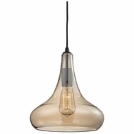 10432/1 ELK Lighting Orbital 1-Light Mini Pendant in Oil Rubbed Bronze with Light Amber Glass