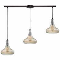 10432/3L ELK Lighting Orbital 3-Light Linear Pendant Fixture in Oil Rubbed Bronze with Light Amber Glass