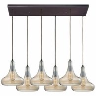 10432/6RC ELK Lighting Orbital 6-Light Rectangular Pendant Fixture in Oil Rubbed Bronze with Light Amber Glass