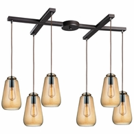 10433/6 ELK Lighting Orbital 6-Light H-Bar Pendant Fixture in Oil Rubbed Bronze with Light Amber Glass