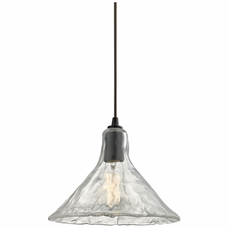 10435/1 ELK Lighting Hand Formed Glass 1-Light Mini Pendant in Oiled Bronze with Clear Hand-formed Glass