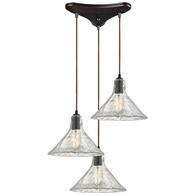 10435/3 ELK Lighting Hand Formed Glass 3-Light Triangular Pendant Fixture in Oiled Bronze with Clear Hand-formed Glass