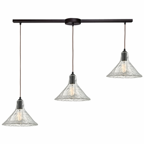 10435/3L ELK Lighting Hand Formed Glass 3-Light Linear Pendant Fixture in Oiled Bronze with Clear Hand-formed Glass
