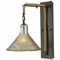 10436/1SCN ELK Lighting Hand Formed Glass 1-Light Wall Lamp in Oiled Bronze with Mercury Glass