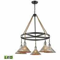 10436/5CH-LED ELK Lighting Hand Formed Glass 5-Light Chandelier in Oiled Bronze with Mercury Glass - Includes LED Bulbs