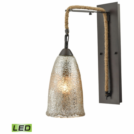 10438/1SCN-LED ELK Lighting Hand Formed Glass 1-Light Wall Lamp in Oiled Bronze with Mercury Glass - Includes LED Bulb