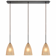 10439/3LP ELK Lighting Calipsa 3-Light Linear Mini Pendant Fixture in Oiled Bronze with Light Amber Frosted Glass