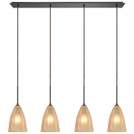 10439/4LP ELK Lighting Calipsa 4-Light Linear Pendant Fixture in Oiled Bronze with Light Amber Frosted Glass