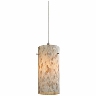10442/1 ELK Lighting Capri 1-Light Mini Pendant in Satin Nickel with Capiz Shell Glass
