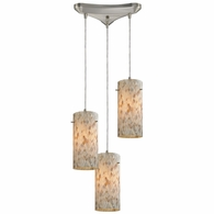 10442/3 ELK Lighting Capri 3-Light Triangular Pendant Fixture in Satin Nickel with Capiz Shell Glass