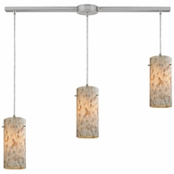 10442/3L ELK Lighting Capri 3-Light Linear Pendant Fixture in Satin Nickel with Capiz Shell Glass