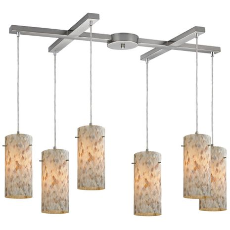 10442/6 ELK Lighting Capri 6-Light H-Bar Pendant Fixture in Satin Nickel with Capiz Shell Glass