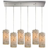 10442/6RC ELK Lighting Capri 6-Light Rectangular Pendant Fixture in Satin Nickel with Capiz Shell Glass