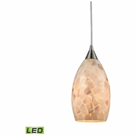 10443/1-LED ELK Lighting Capri 1-Light Mini Pendant in Satin Nickel with Capiz Shell Glass - Includes LED Bulb