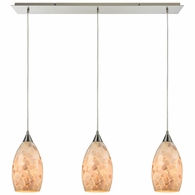 10443/3LP ELK Lighting Capri 3-Light Linear Mini Pendant Fixture in Satin Nickel with Capiz Shell Glass