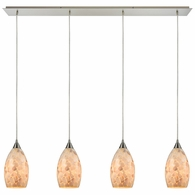 10443/4LP ELK Lighting Capri 4-Light Linear Pendant Fixture in Satin Nickel with Capiz Shell Glass