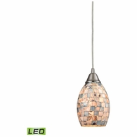 10444/1-LED ELK Lighting Capri 1-Light Mini Pendant in Satin Nickel with Gray Capiz Shells on Glass - Includes LED Bulb