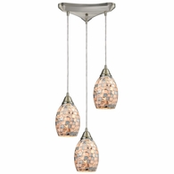 10444/3 ELK Lighting Capri 3-Light Triangular Pendant Fixture in Satin Nickel with Gray Capiz Shells on Glass