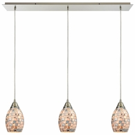10444/3LP ELK Lighting Capri 3-Light Linear Mini Pendant Fixture in Satin Nickel with Gray Capiz Shells on Glass
