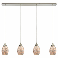 10444/4LP ELK Lighting Capri 4-Light Linear Pendant Fixture in Satin Nickel with Gray Capiz Shells on Glass