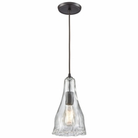 10446/1 ELK Lighting Hand Formed Glass 1-Light Mini Pendant in Oiled Bronze with Clear Hand-formed Glass
