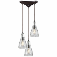 10446/3 ELK Lighting Hand Formed Glass 3-Light Triangular Pendant Fixture in Oiled Bronze with Clear Hand-formed Glass