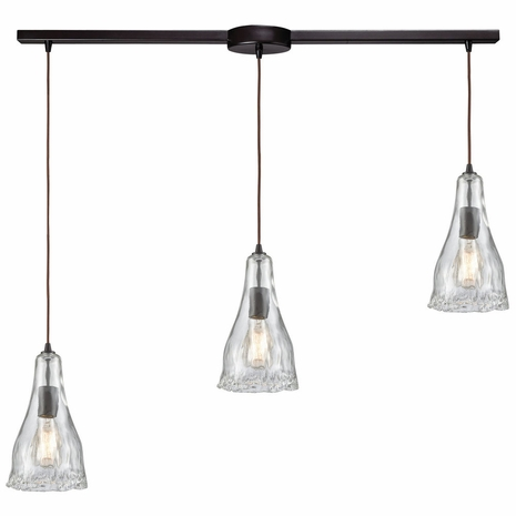 10446/3L ELK Lighting Hand Formed Glass 3-Light Linear Mini Pendant Fixture in Oiled Bronze with Clear Hand-formed Glass