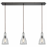 10446/3LP ELK Lighting Hand Formed Glass 3-Light Linear Mini Pendant Fixture in Oiled Bronze with Clear Hand-formed Glass