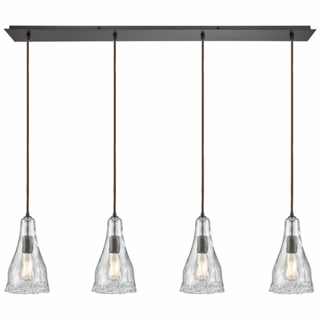 10446/4LP ELK Lighting Hand Formed Glass 4-Light Linear Pendant Fixture in Oiled Bronze with Clear Hand-formed Glass
