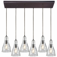 10446/6RC ELK Lighting Hand Formed Glass 6-Light Rectangular Pendant Fixture in Oiled Bronze with Clear Hand-formed Glass