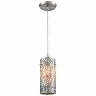 10447/1 ELK Lighting Capri 1-Light Mini Pendant in Satin Nickel with Gray Capiz Shells on Glass