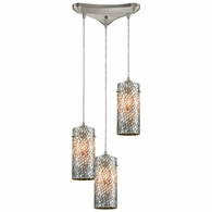 10447/3 ELK Lighting Capri 3-Light Triangular Pendant Fixture in Satin Nickel with Gray Capiz Shells on Glass