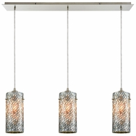 10447/3LP ELK Lighting Capri 3-Light Linear Mini Pendant Fixture in Satin Nickel with Gray Capiz Shells on Glass