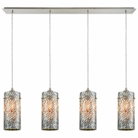 10447/4LP ELK Lighting Capri 4-Light Linear Pendant Fixture in Satin Nickel with Gray Capiz Shells on Glass