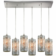 10447/6RC ELK Lighting Capri 6-Light Rectangular Pendant Fixture in Satin Nickel with Gray Capiz Shells on Glass