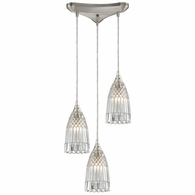10458/3 ELK Lighting Kersey 3-Light Triangular Pendant Fixture in Satin Nickel with Clear Crystal