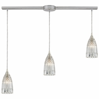 10458/3L ELK Lighting Kersey 3-Light Linear Pendant Fixture in Satin Nickel with Clear Crystal