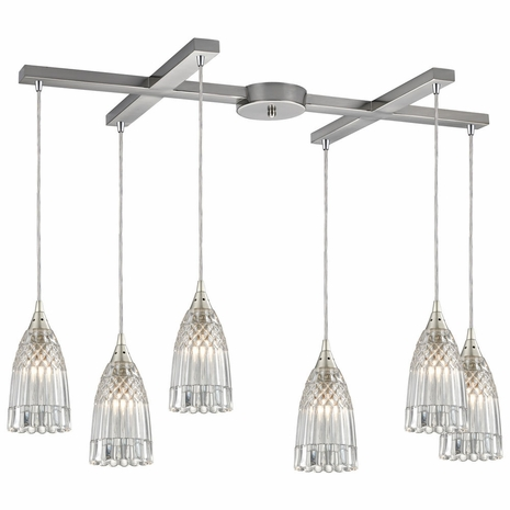 10458/6 ELK Lighting Kersey 6-Light H-Bar Pendant Fixture in Satin Nickel with Clear Crystal
