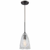 10459/1 ELK Lighting Hand Formed Glass 1-Light Mini Pendant in Oiled Bronze with Clear Hand-formed Glass