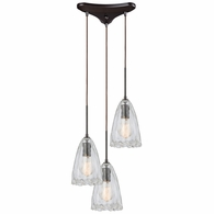 10459/3 ELK Lighting Hand Formed Glass 3-Light Triangular Pendant Fixture in Oiled Bronze with Clear Hand-formed Glass