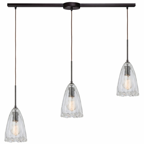 10459/3L ELK Lighting Hand Formed Glass 3-Light Linear Mini Pendant Fixture in Oiled Bronze with Clear Hand-formed Glass