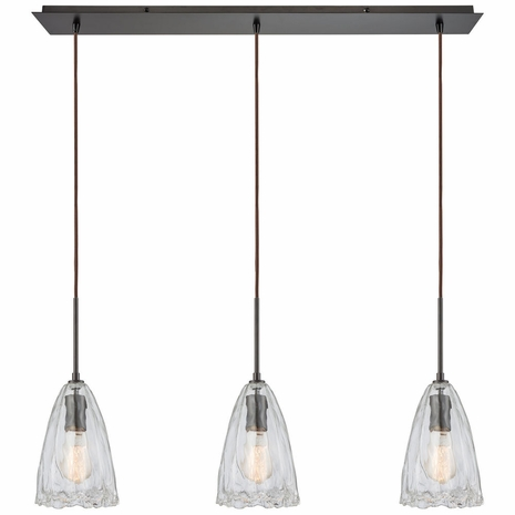 10459/3LP ELK Lighting Hand Formed Glass 3-Light Linear Mini Pendant Fixture in Oiled Bronze with Clear Hand-formed Glass
